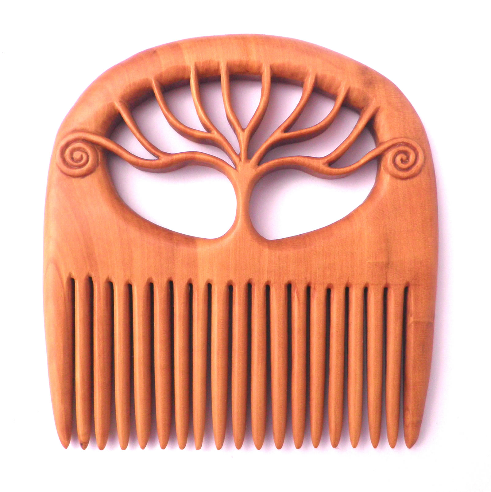 Tree of life comb, carved from box wood