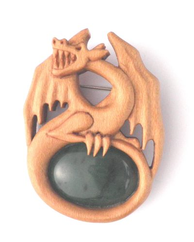 Dragon brooch in holly and jade