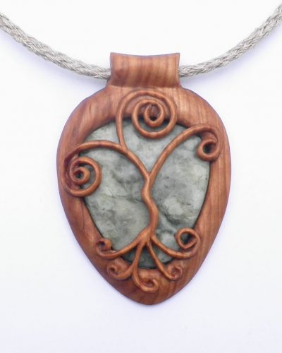Curly tree pendant in rowan & Scottish marble