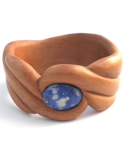 Lapis waves bangle in Scottish hawthorn.