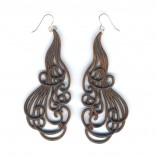 Large curling locks earrings in walnut
