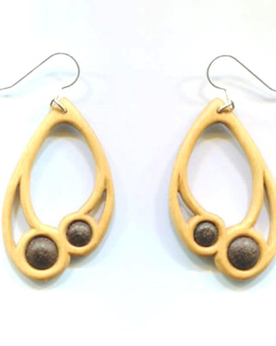 Large drop earrings in holly & bog oak