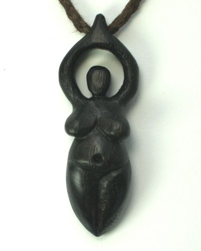 large goddess pendant in bog oak