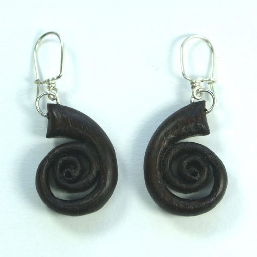 Spiral earrings bog oak