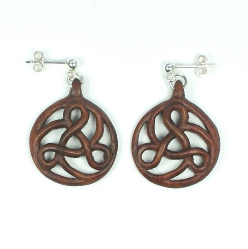 art nouveau triskele earrings walnut