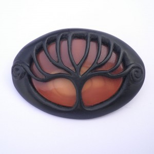 Handmade wooden jewellery: Ebony and jasper tree brooch.