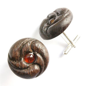 Bog oak earrings, with 6mm amber on sterling silver mounts. Bog oak jewellery.