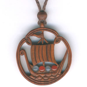 ship pendant in hawthorn and agate