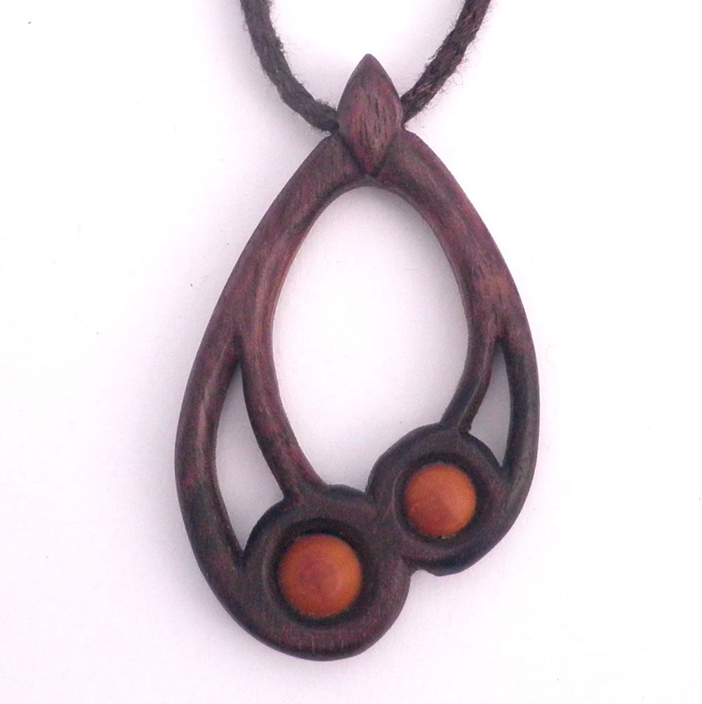 Large drop necklace in walnut & box wood