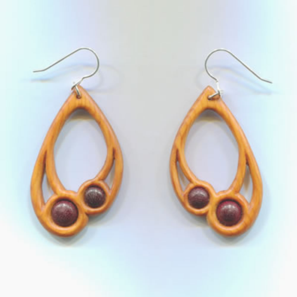 Large drop earrings in yew and purple heart