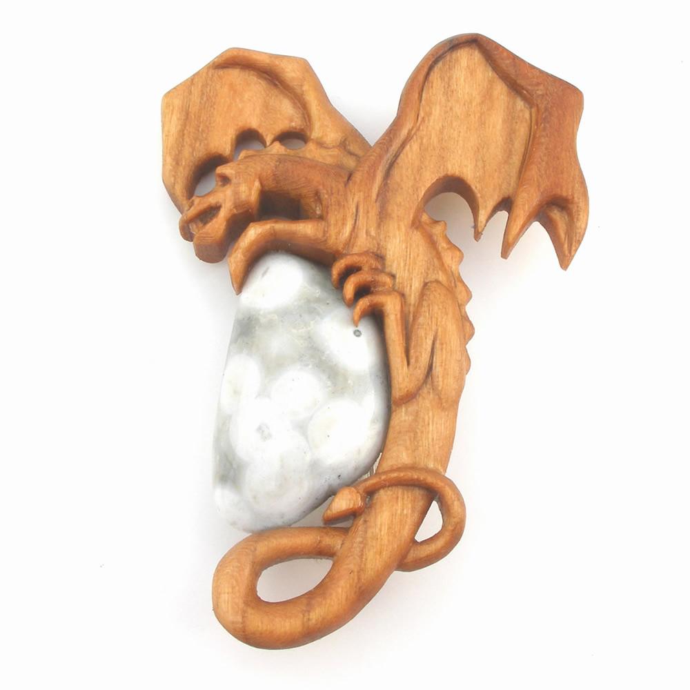 Dragon brooch with Fairtrade cherry ocean jasper