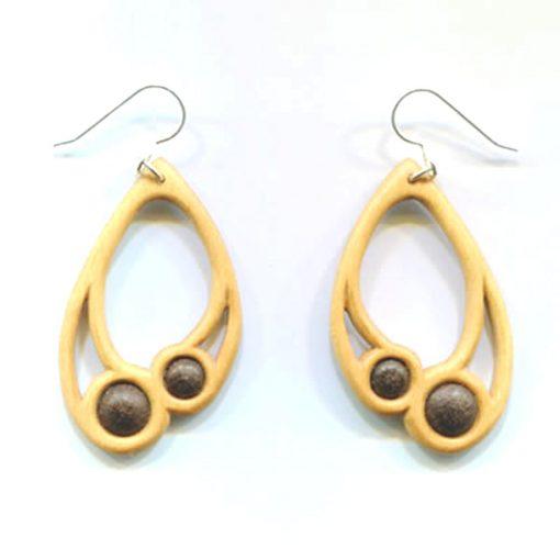 Large drop earrings in holly & bog oak