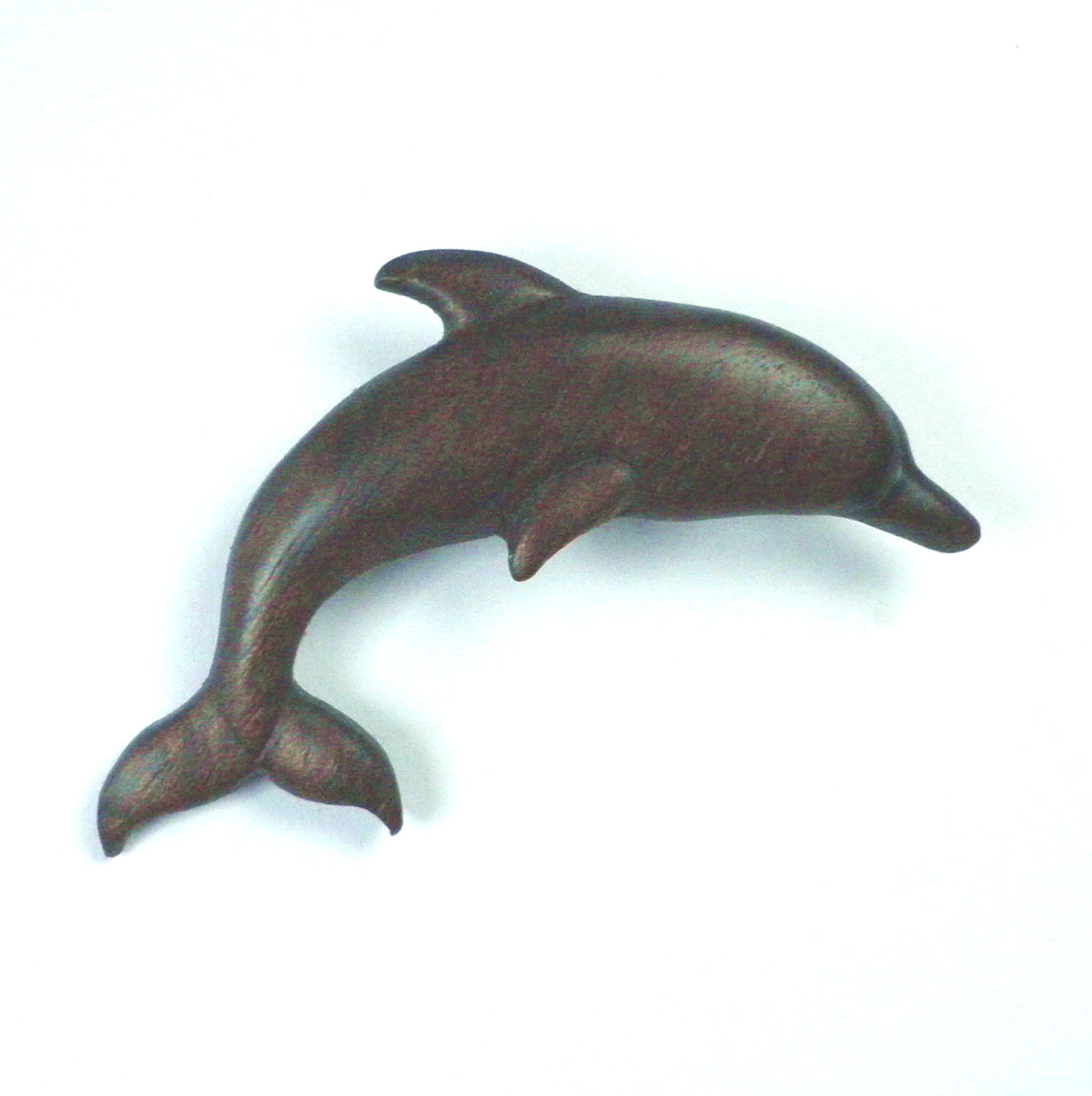 dolphin brooch in walnut