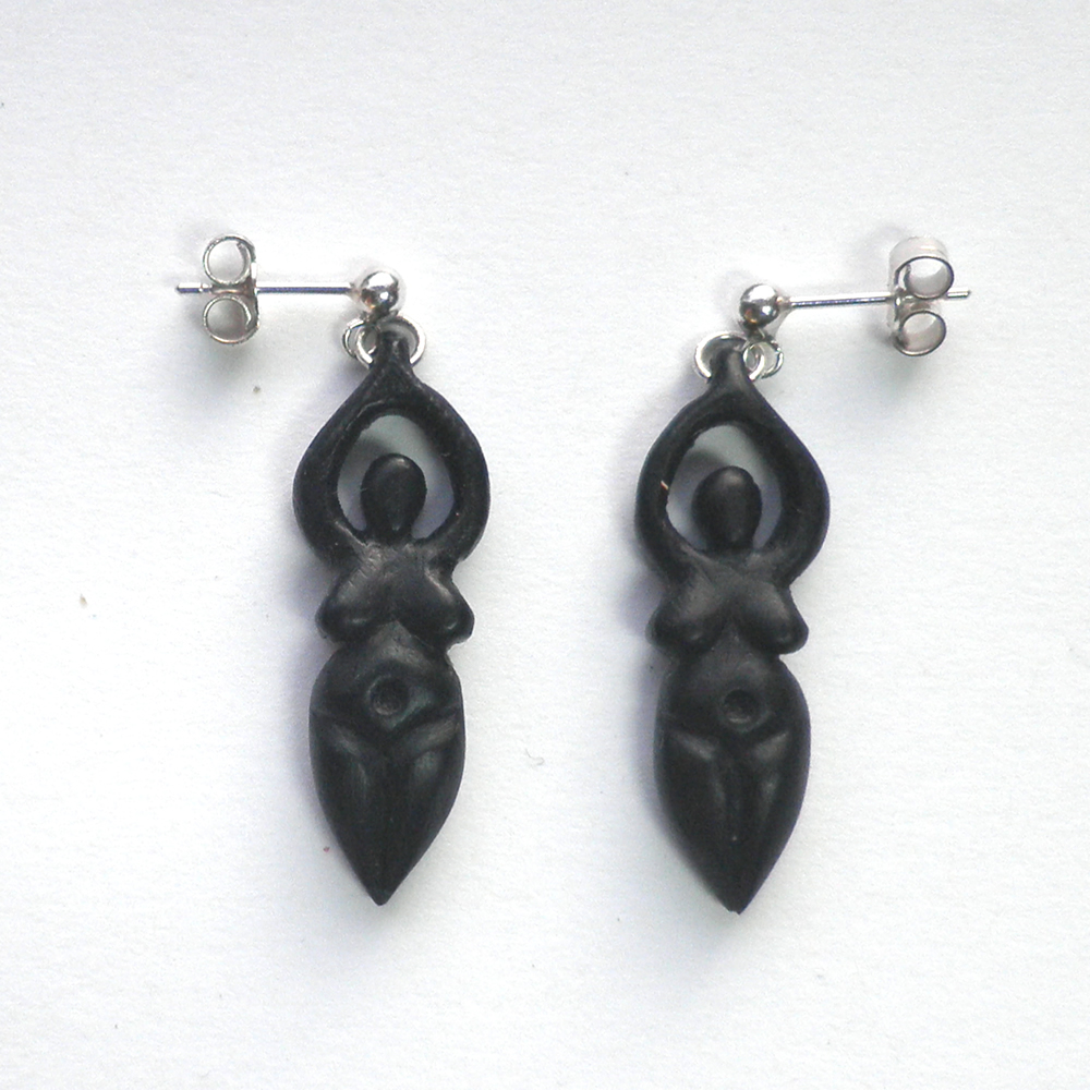 goddess earrings in ebony