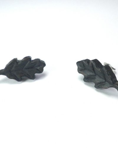 oak leaf earrings in bog oak