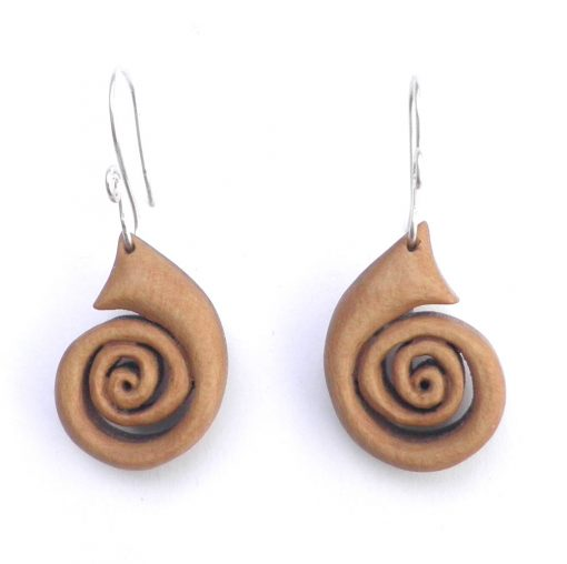 spiral earrings in holly