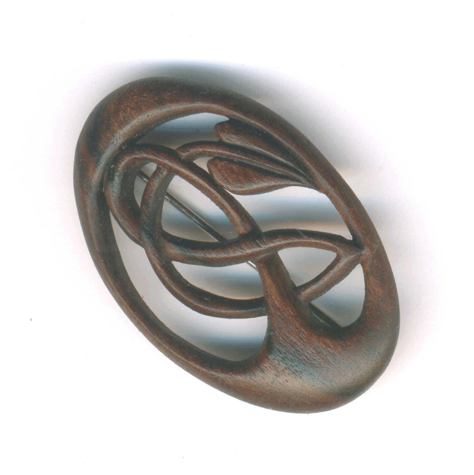 vine brooch walnut
