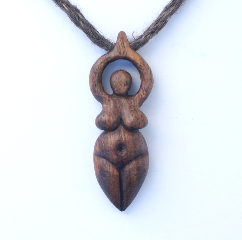 small goddess necklace in walnut