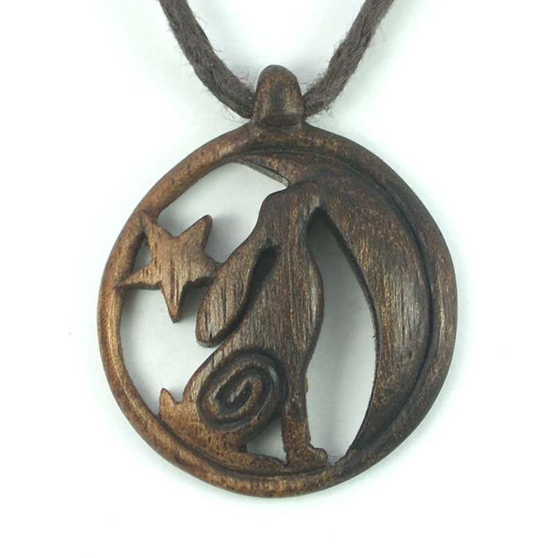 moon gazing hare necklace walnut