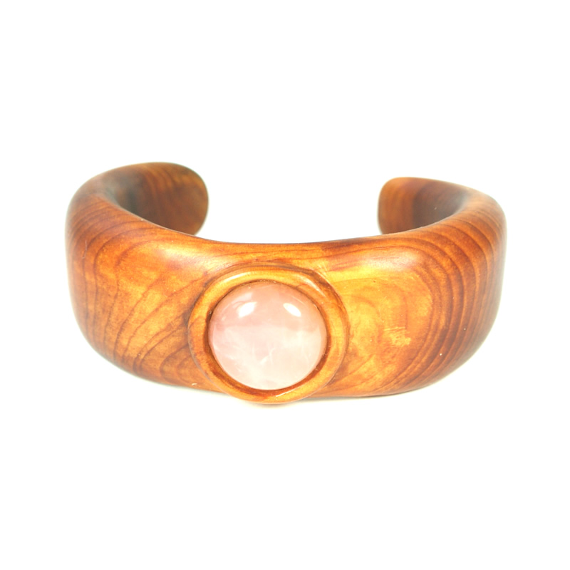 Cuff yew rose quartz