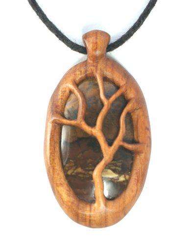 Tree necklace plum & deschutes jasper