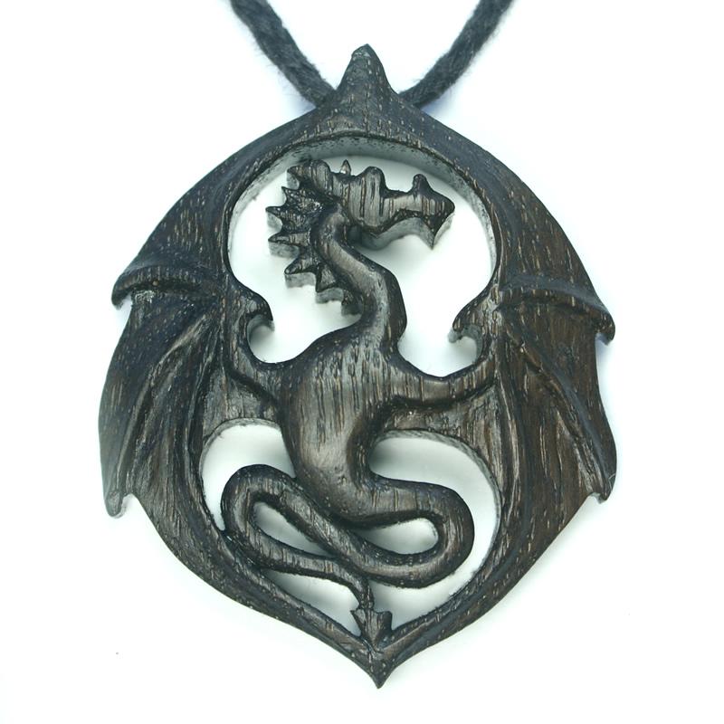 dragon pendant large bog oak