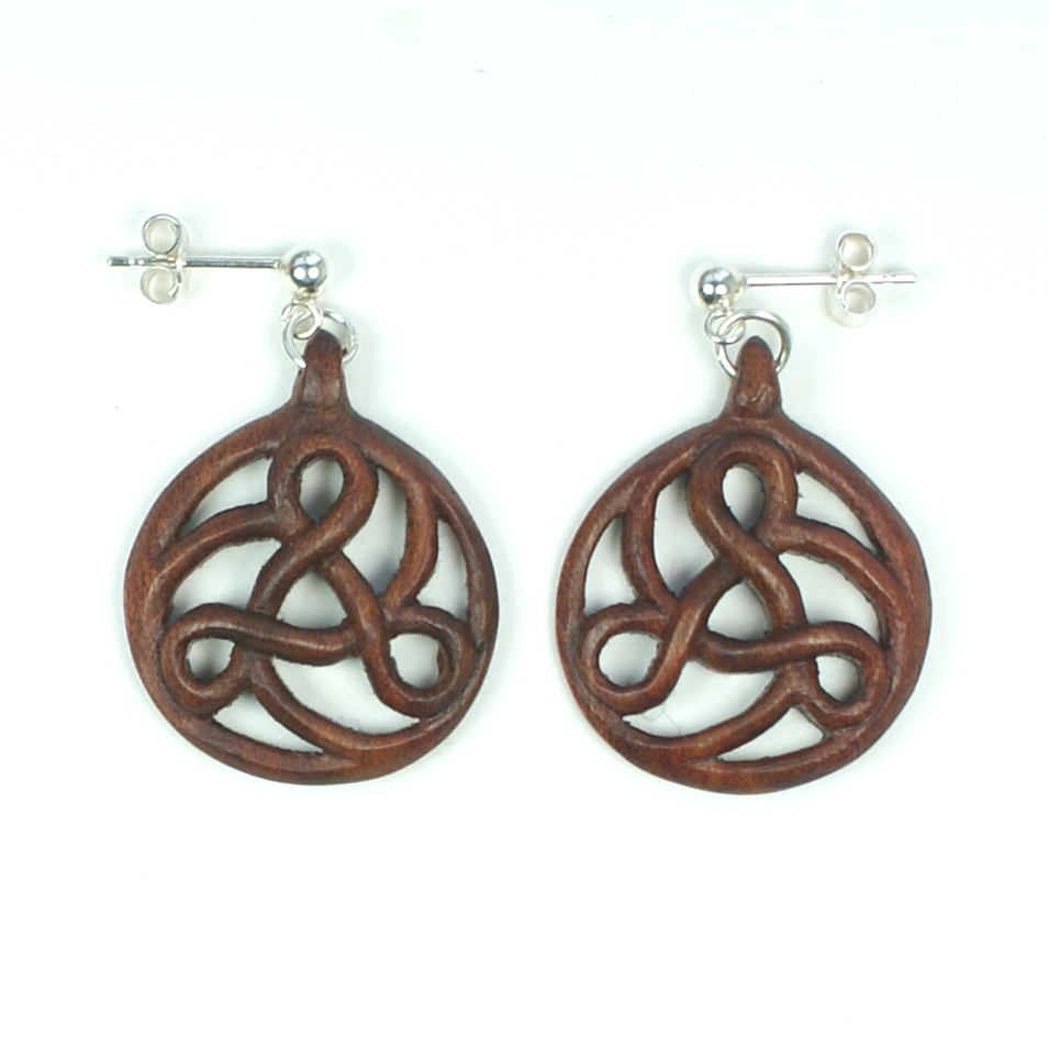 Art Nouveau Triskele Earrings in walnut