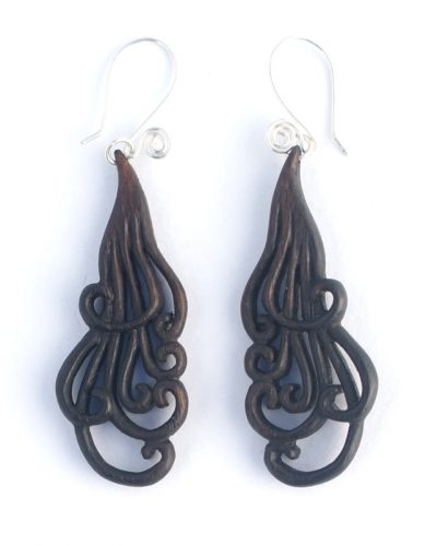small curling locks earrings walnut