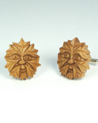 Green man cufflinks in hawthorn