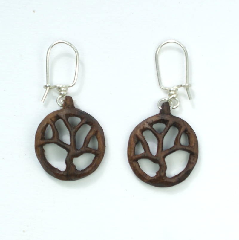 tree of life earrings walnut