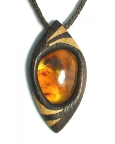 dragon's eye necklace bog oak amber