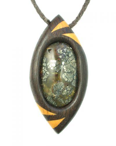 dragon's eye in bog oak, box and nipomo in marcasite agate