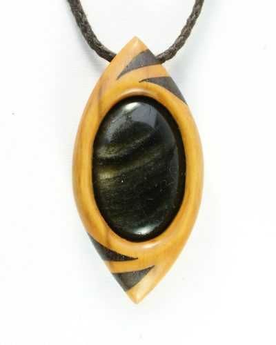 dragon's eye in box, bog oak and obsidian