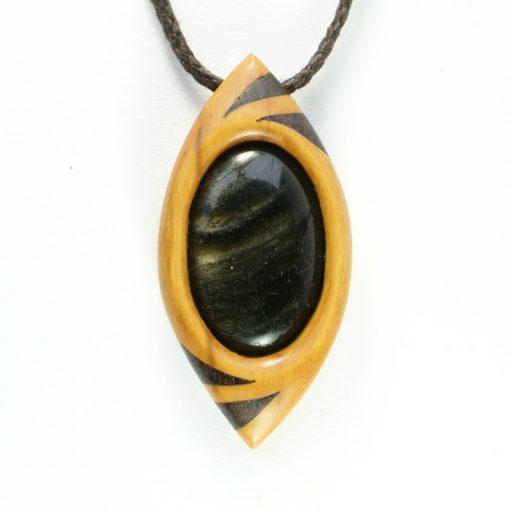 dragon's eye in box, bog oak and obsidian