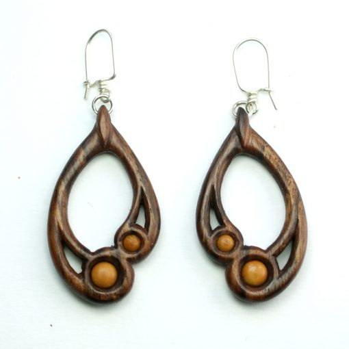 small drop earrings walnut box