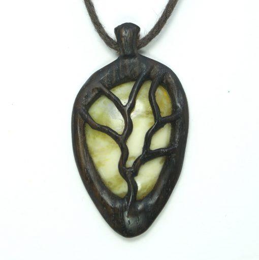 tree necklace bog oak marble
