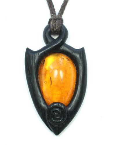 Bog oak and amber necklace