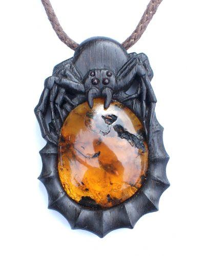 Spider pendant bog oak amber
