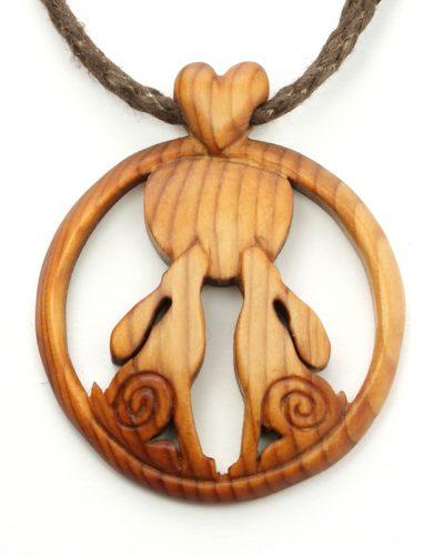 double hare pendant yew
